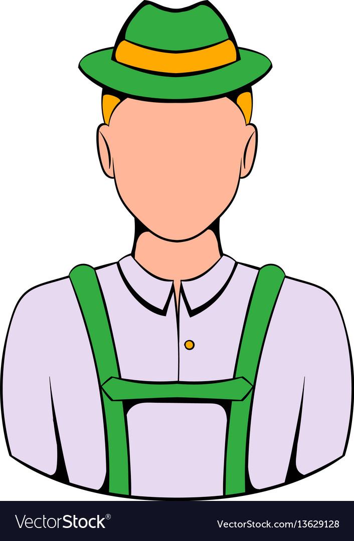 Man in traditional bavarian costume icon cartoon