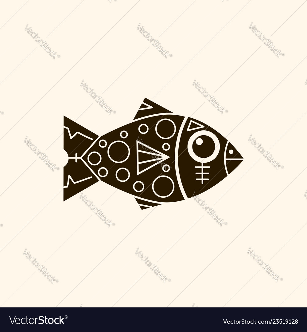Prehistoric fish with patterns retro background