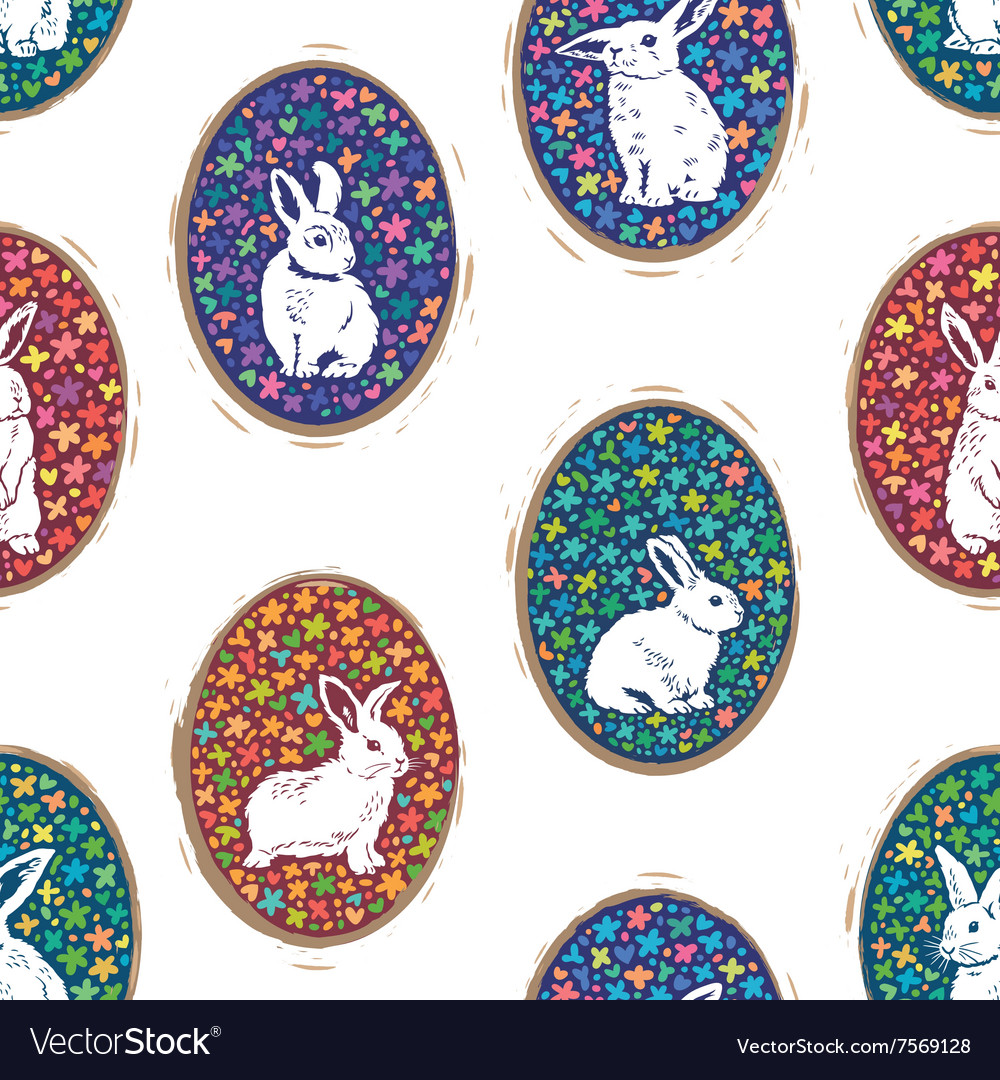 Seamless pattern with floral easter eggs and bunny