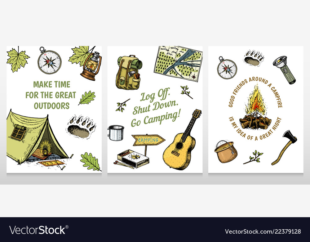 Set of camping cards poster or print template