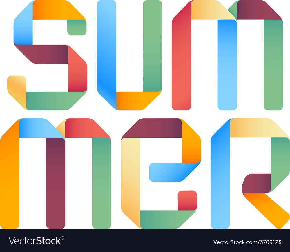Summer 3d text design template vector image