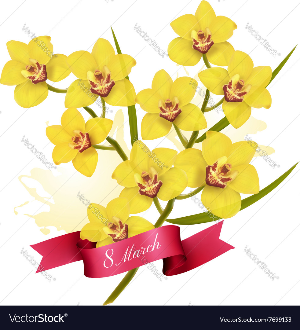 8th March Holiday Yellow Flowers Background Vector Image