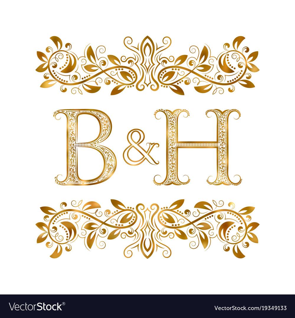Bh vintage initials logo symbol letters b