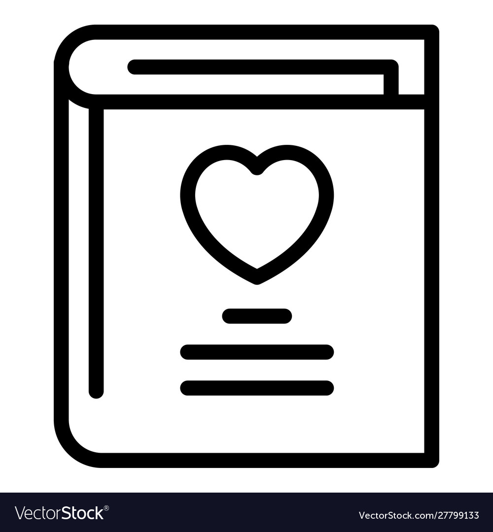 Book with a heart icon outline style Royalty Free Vector
