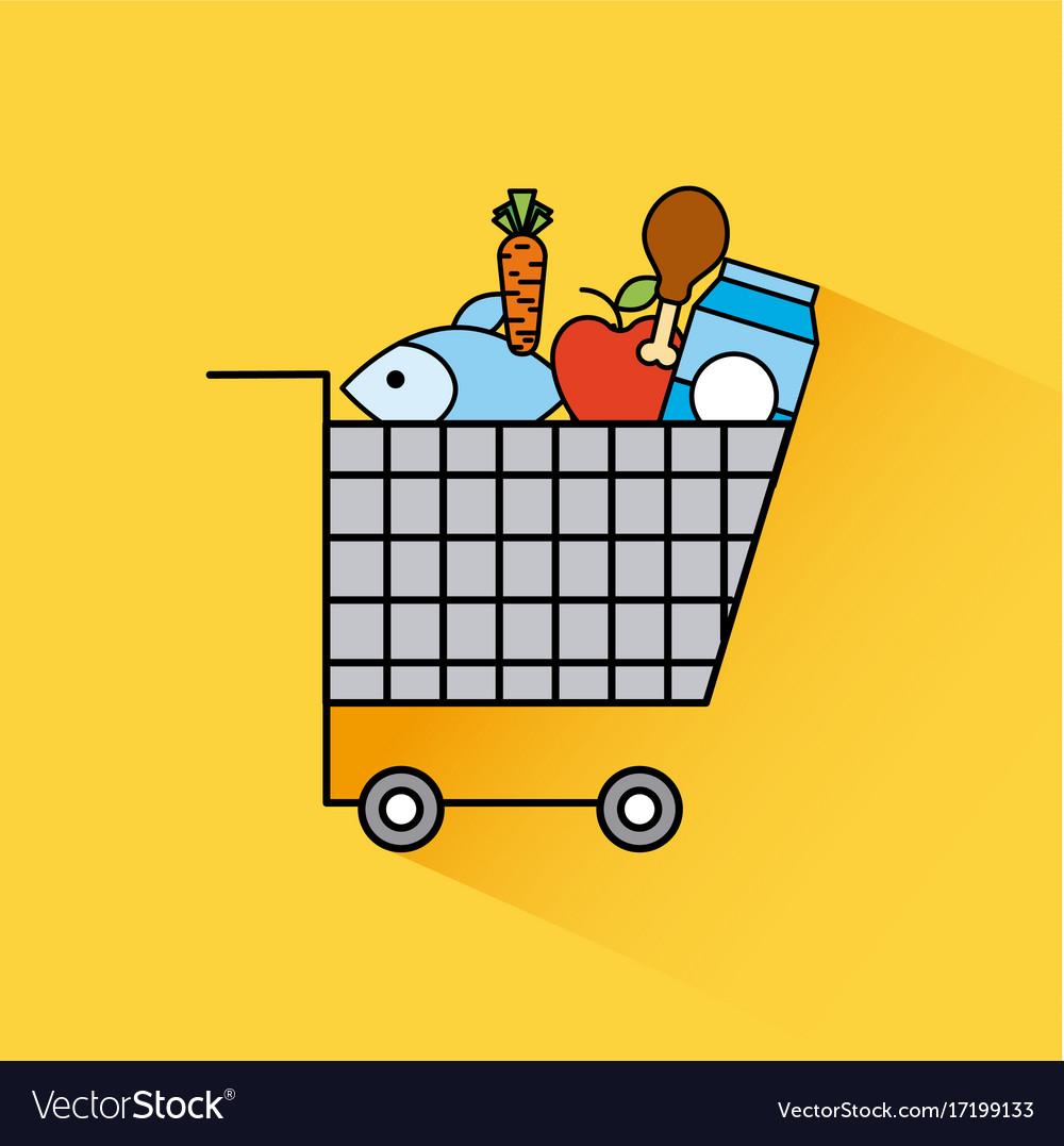 Cartoon full cart shopping food fresh grocery