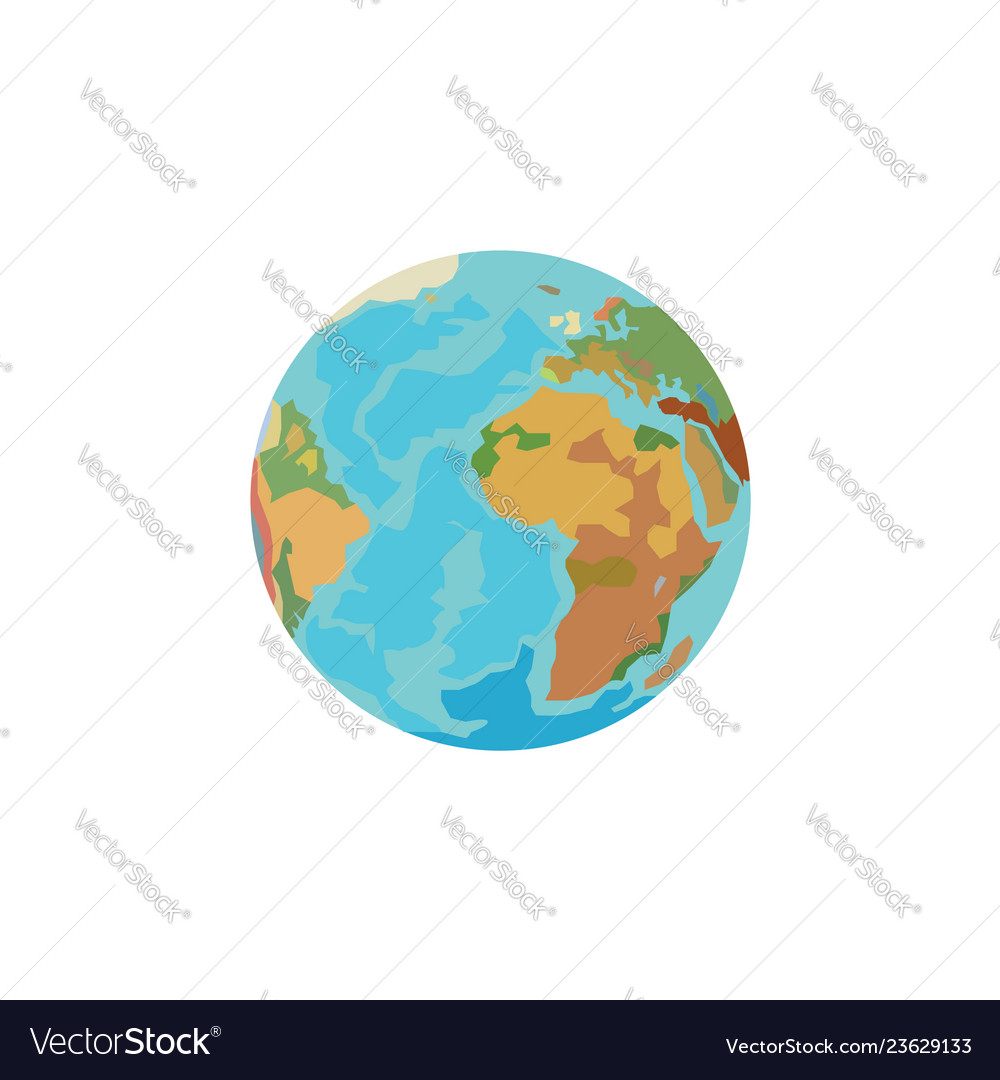 Color image planet earth globe on a white