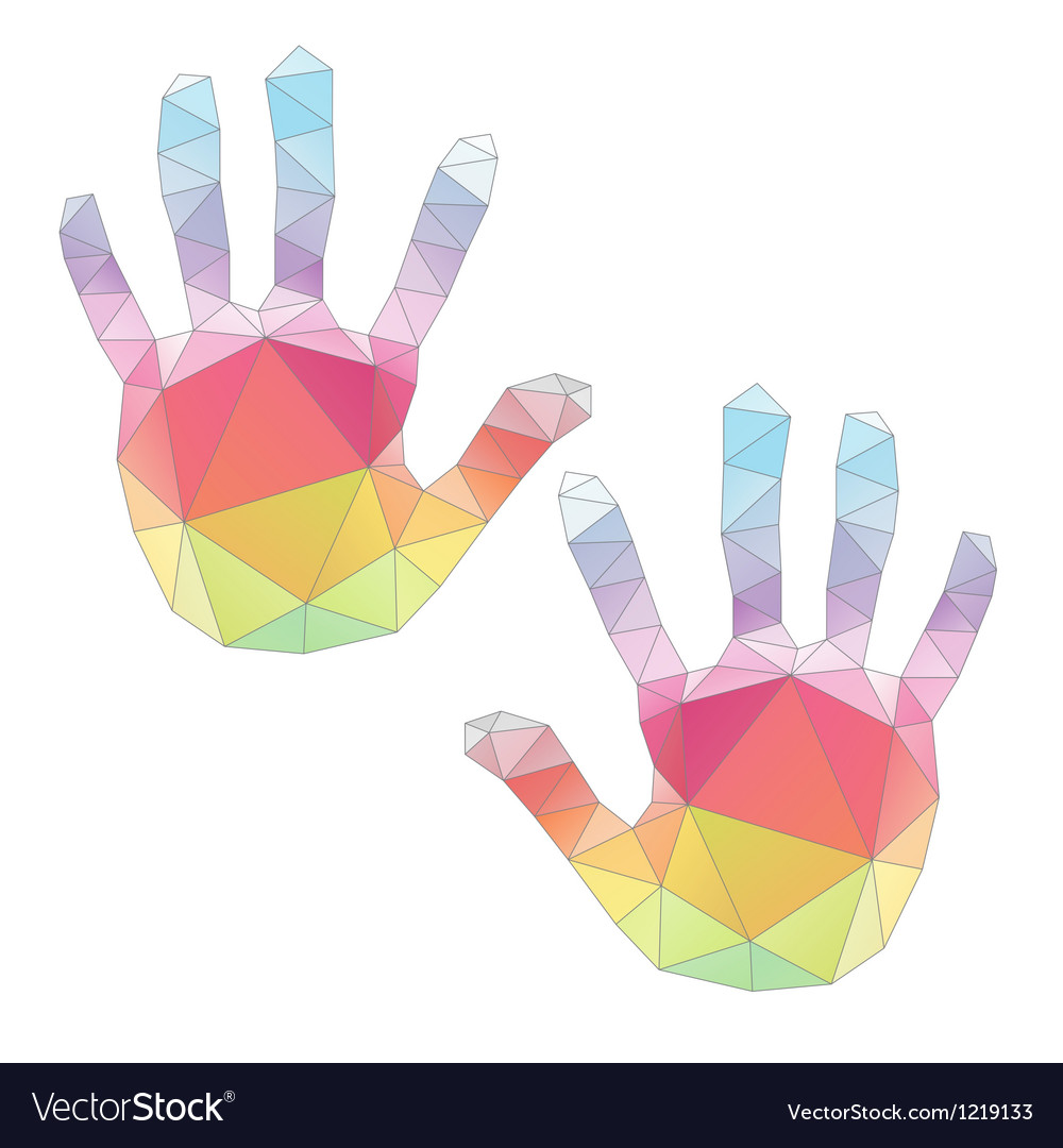 Colorful hand prints poligonal art