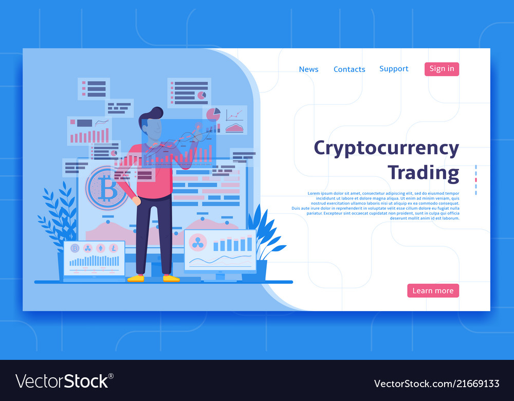 Cryptocurrency trading landing page concept