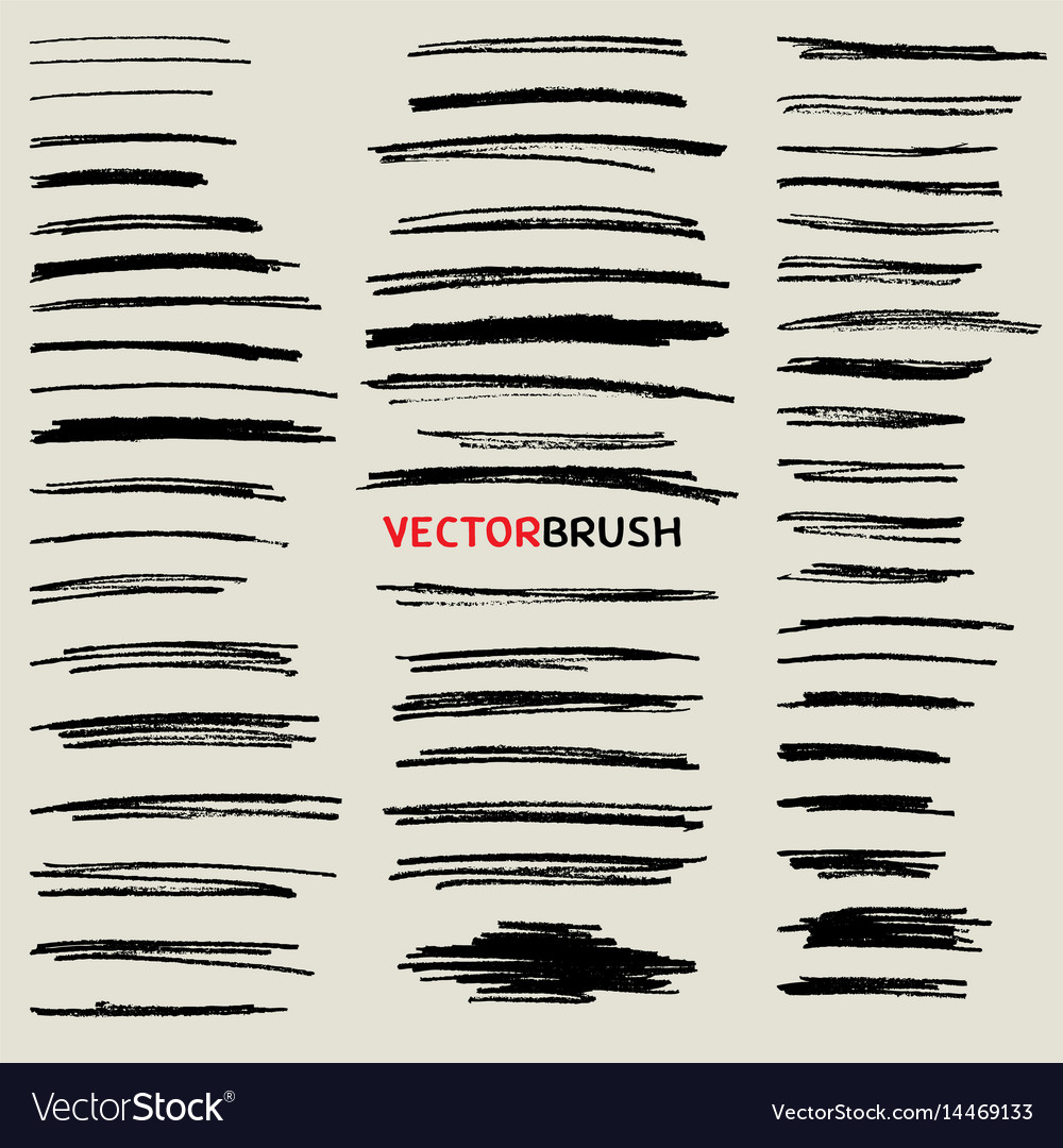 Doodle Pencil Stroke Brush Set Royalty Free Vector Image