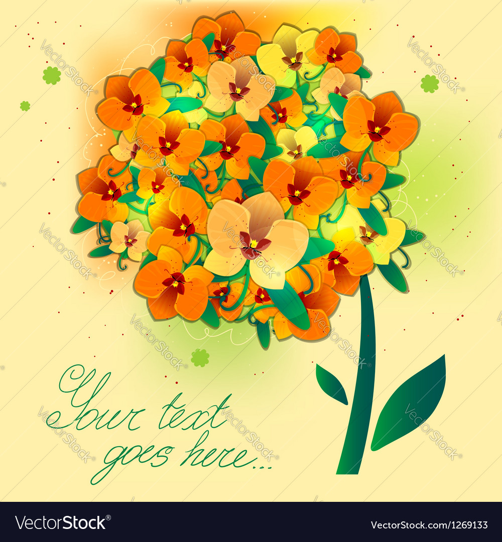 Floral background with orchid EPS10 vector image