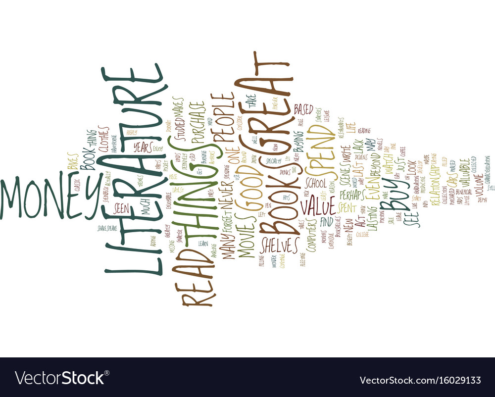 Great literature a great buy text background word vector image