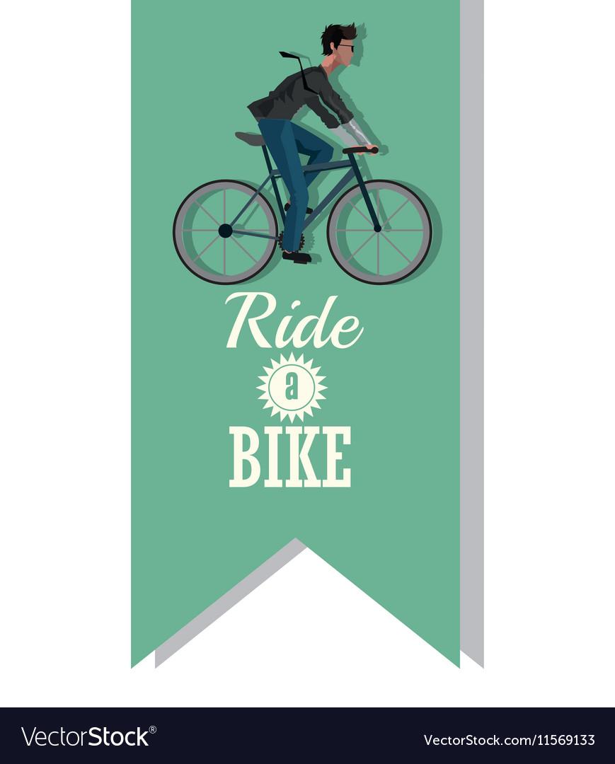 Man riding bike inside ribbon design vector image on VectorStock