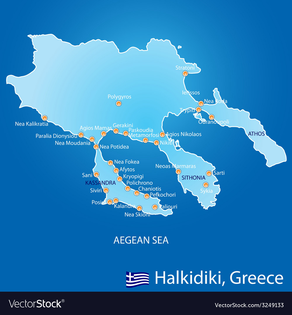 Peninsula Of Halkidiki In Greece Map Royalty Free Vector