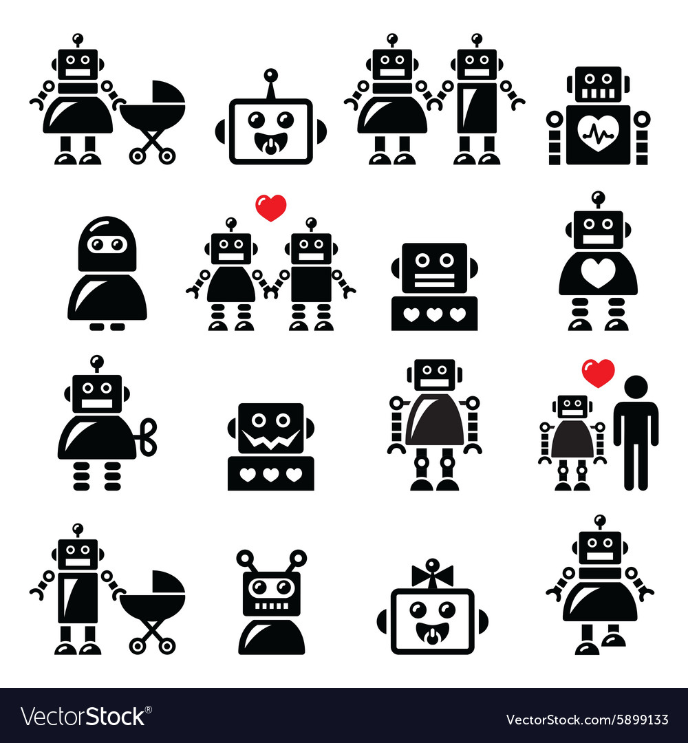 Robot family female baby robot icons set