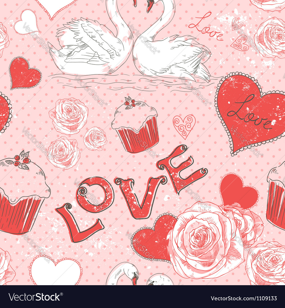 Valentine romantic seamless pattern with hearts