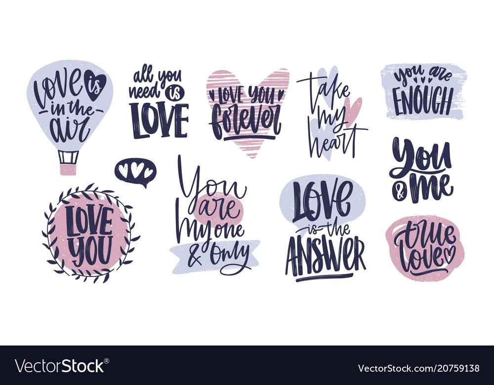 Bundle of trendy valentine s day lettering vector image