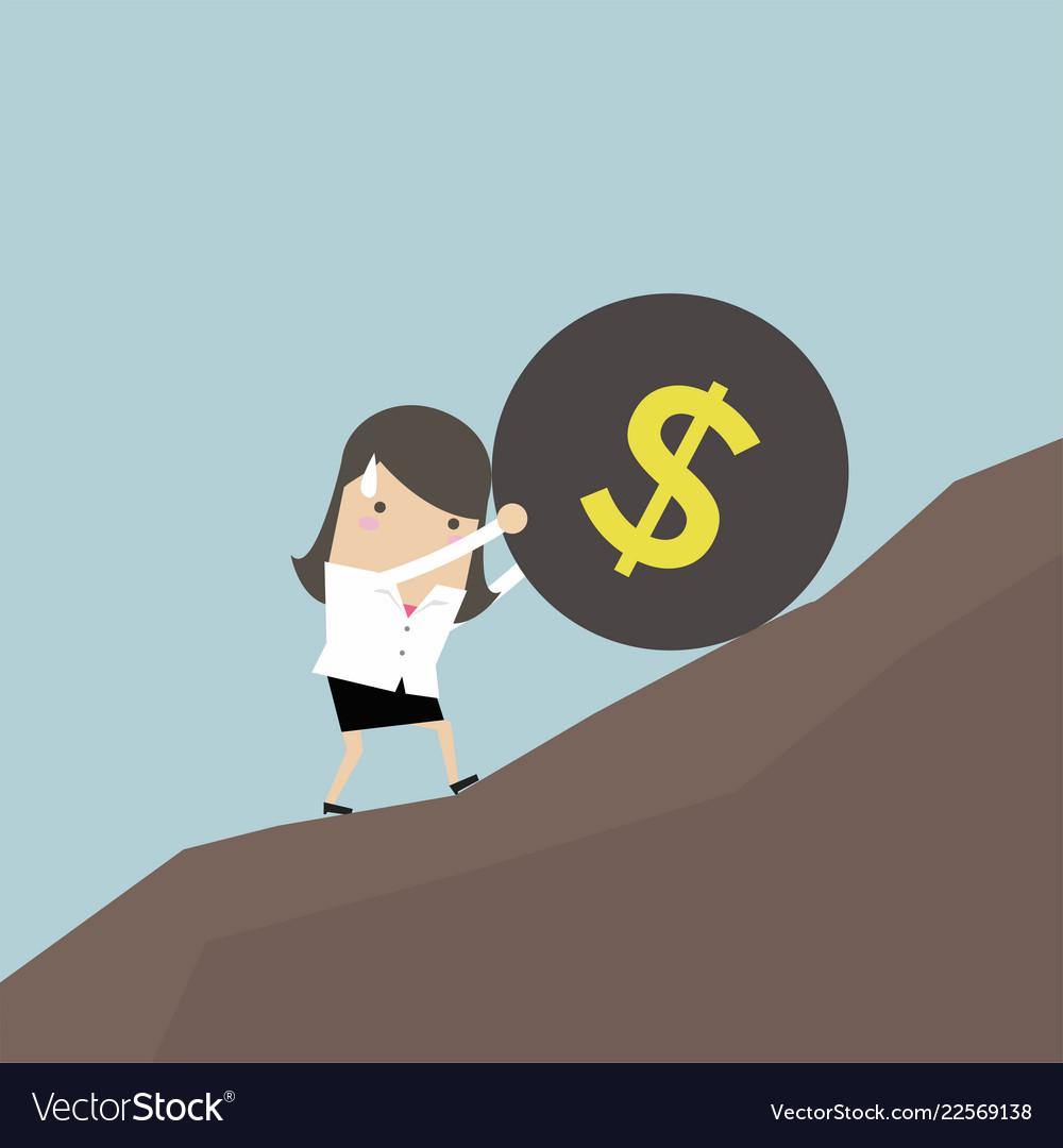 Businesswoman pushing a money burden up hill