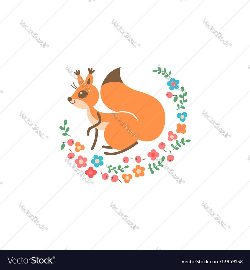Cartoon cute squirrel little funny print