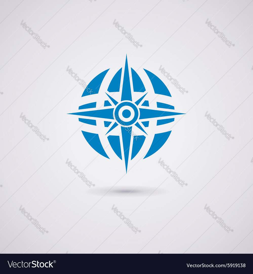 Compass and earth globe vector image