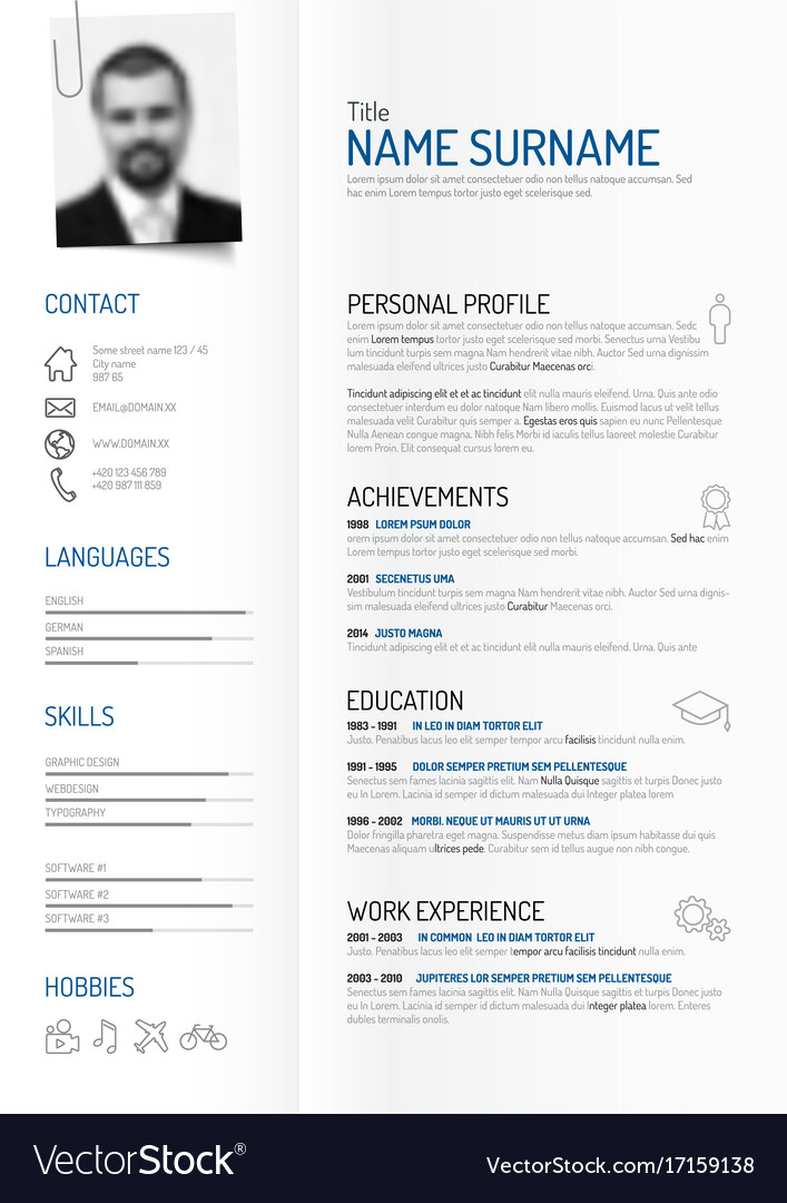 creative minimalist cv resume template royalty free vector
