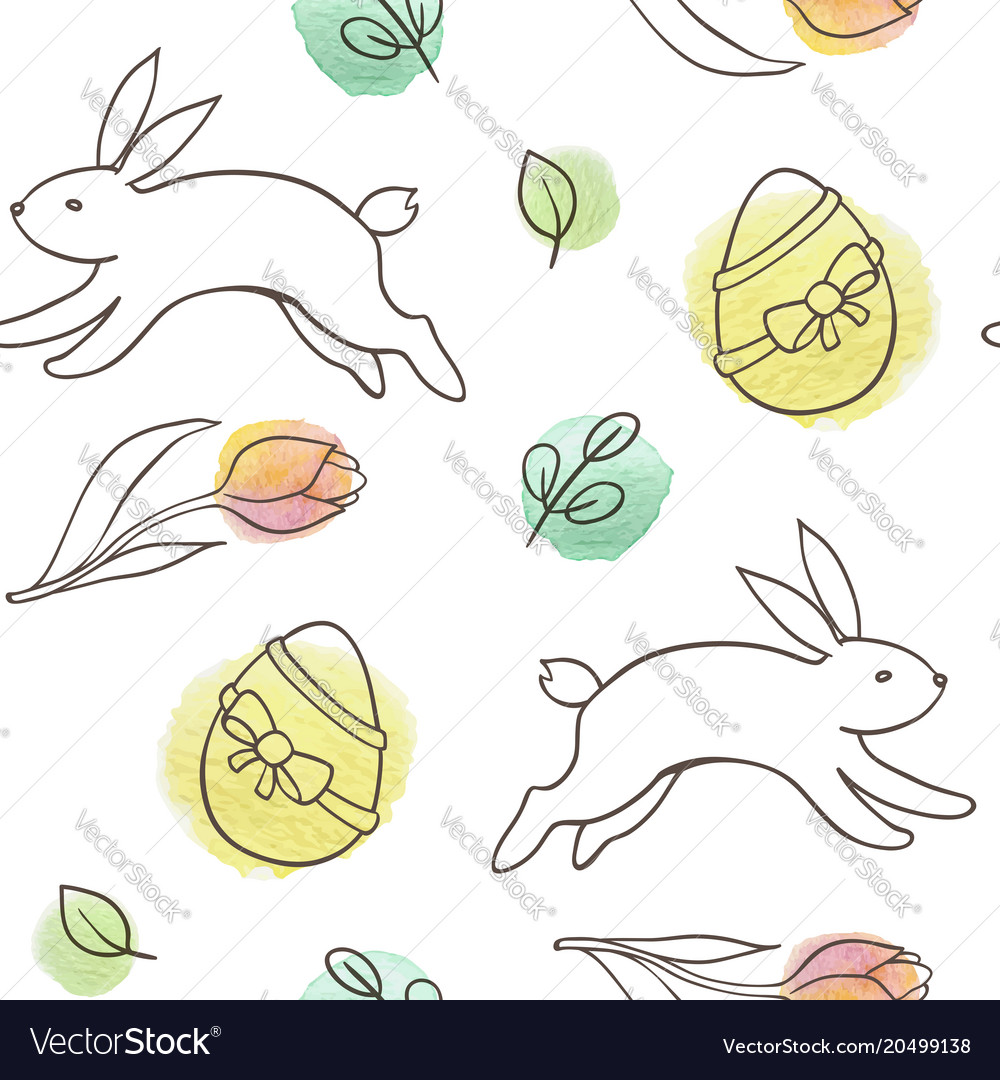 Easter seamless pattern with rabbit and eggs vector image