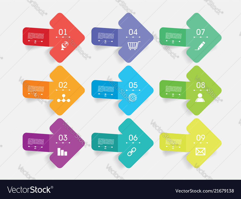 Flat set arrows with icons simple internet