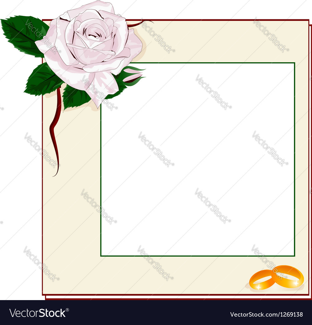 Frame with light pink rose and rings EPS10
