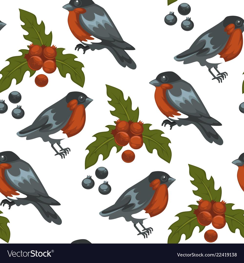 Merry christmas bullfinch bird and mistletoe