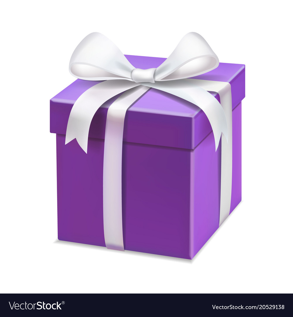 sc 1 st  VectorStock & Realistic purple gift box with white ribbon Vector Image
