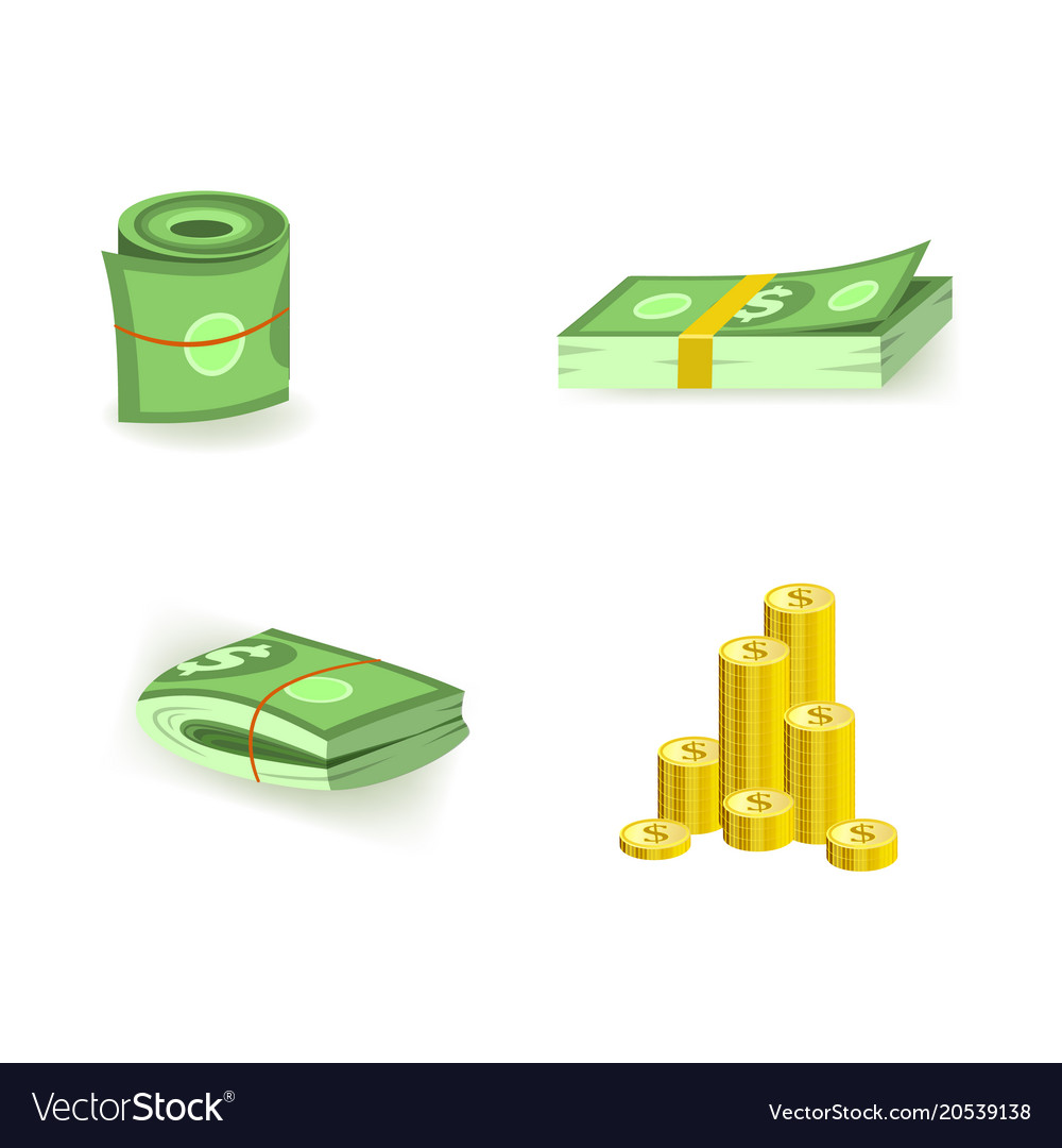 Set of cartoon bill money currency elements with vector image