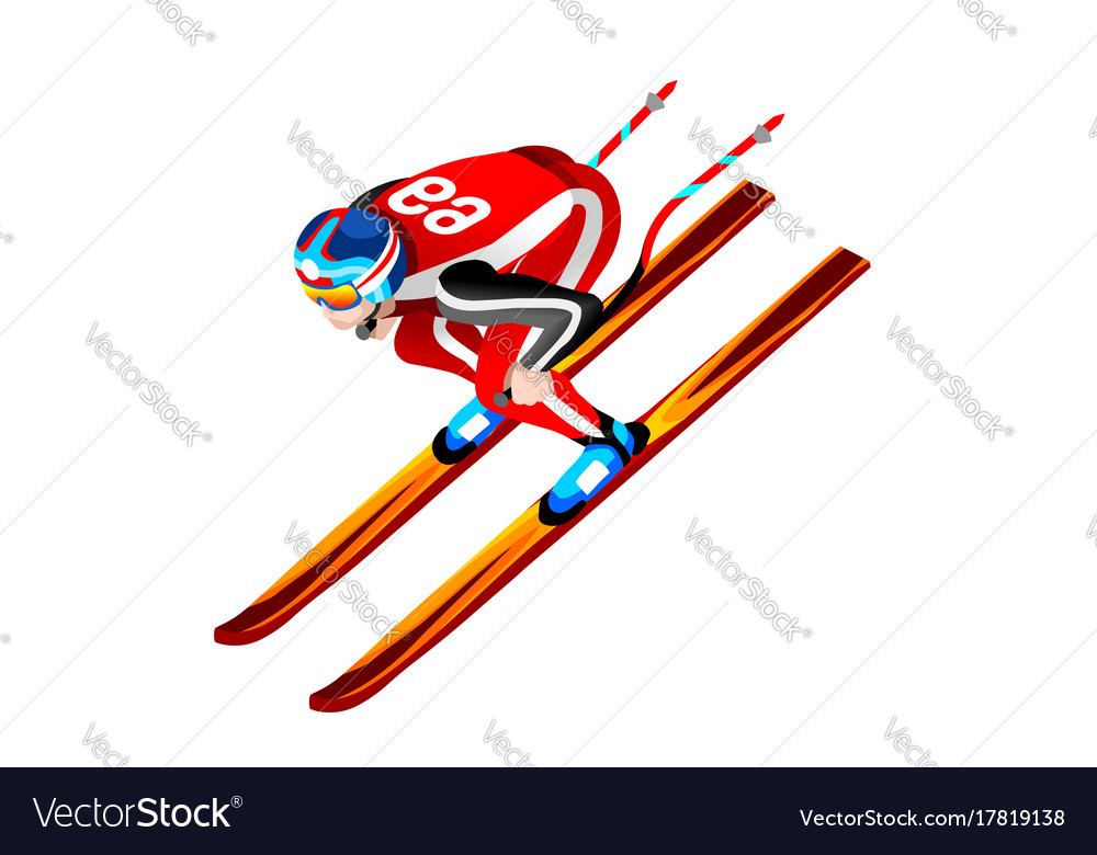 Skier clipart skiing downhill vector image