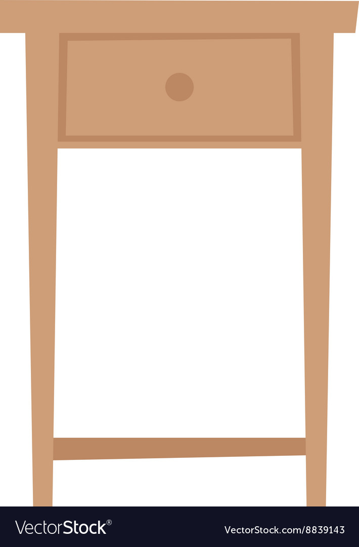 Bedside table household furniture stand flat vector image