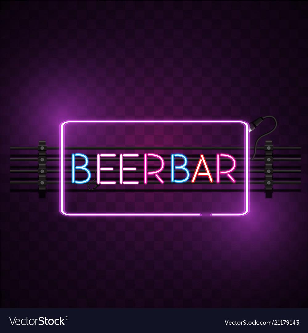 Beer bar square frame neon sign image