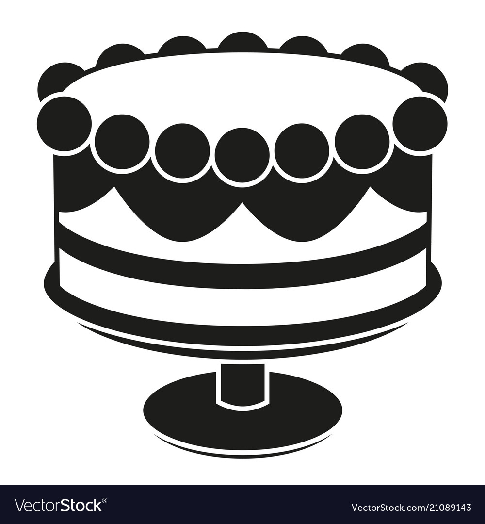 Groovy Black And White Birthday Cake On Stand Silhouette Vector Image Funny Birthday Cards Online Alyptdamsfinfo