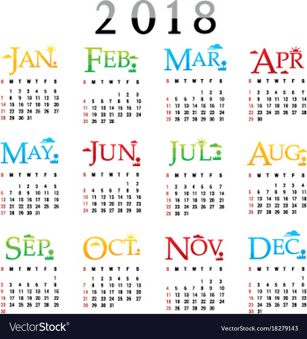 calendar planner happy new year 2018 vector image