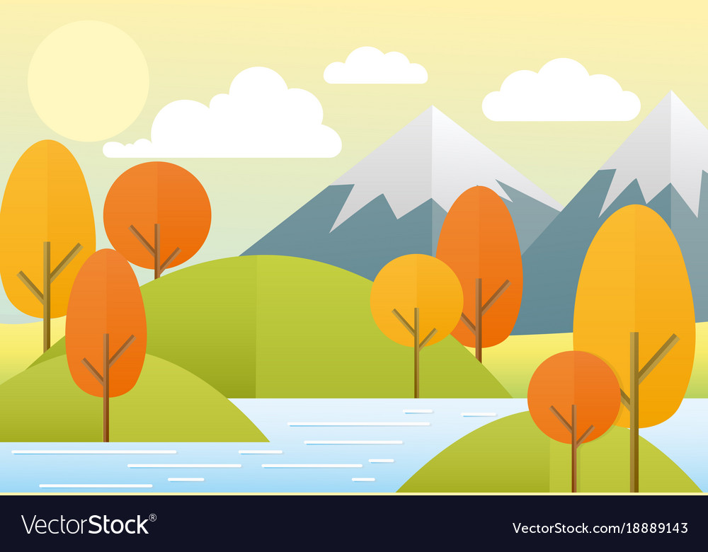Flat autumn nature landscape