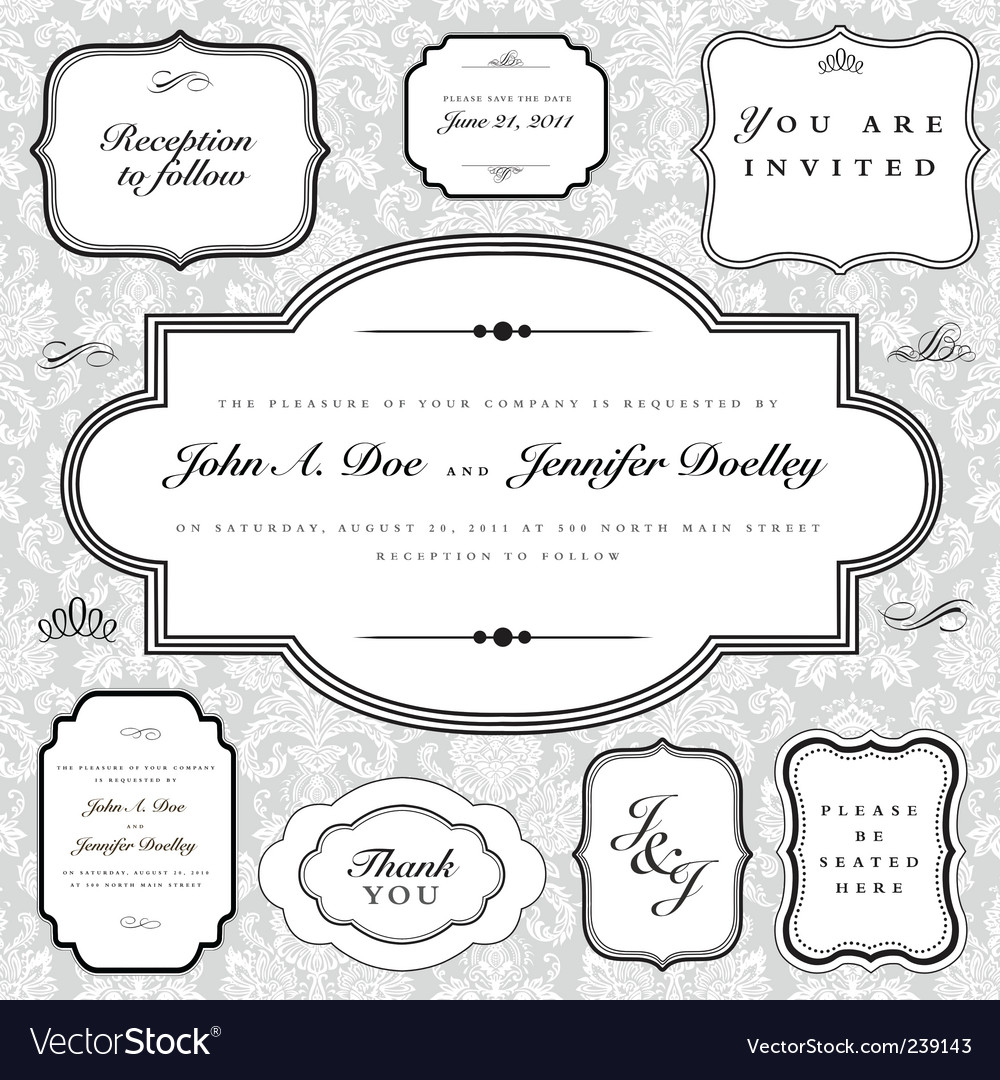 Frame and ornaments set vector image