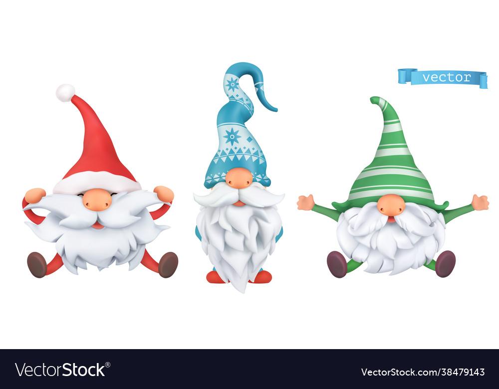 Funny dwarfs christmas 3d cartoon characters set
