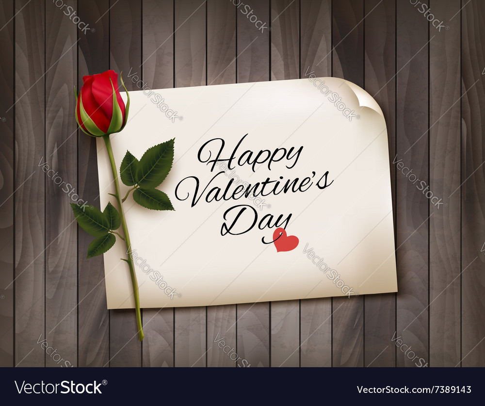 Happy Valentines Day background with a note on a