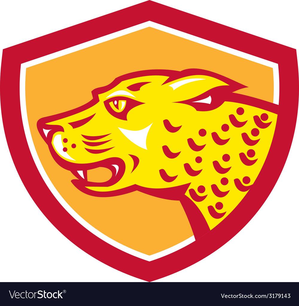 Jaguar Head Side Growling Shield Retro vector image
