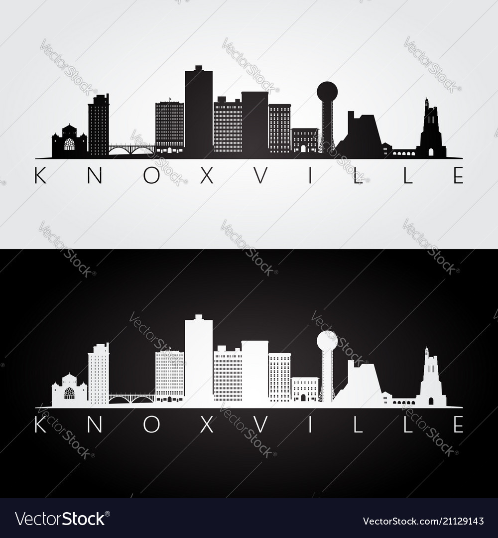 Knoxville usa skyline and landmarks silhouette