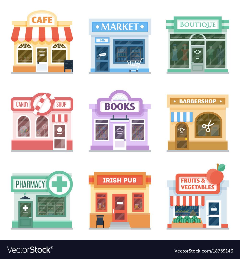 Shop Fronts Collection Exterior Design Vector Image