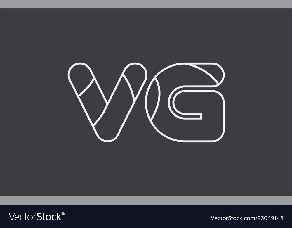 Alphabet Letter Vg V G Combination Black White Vector Image