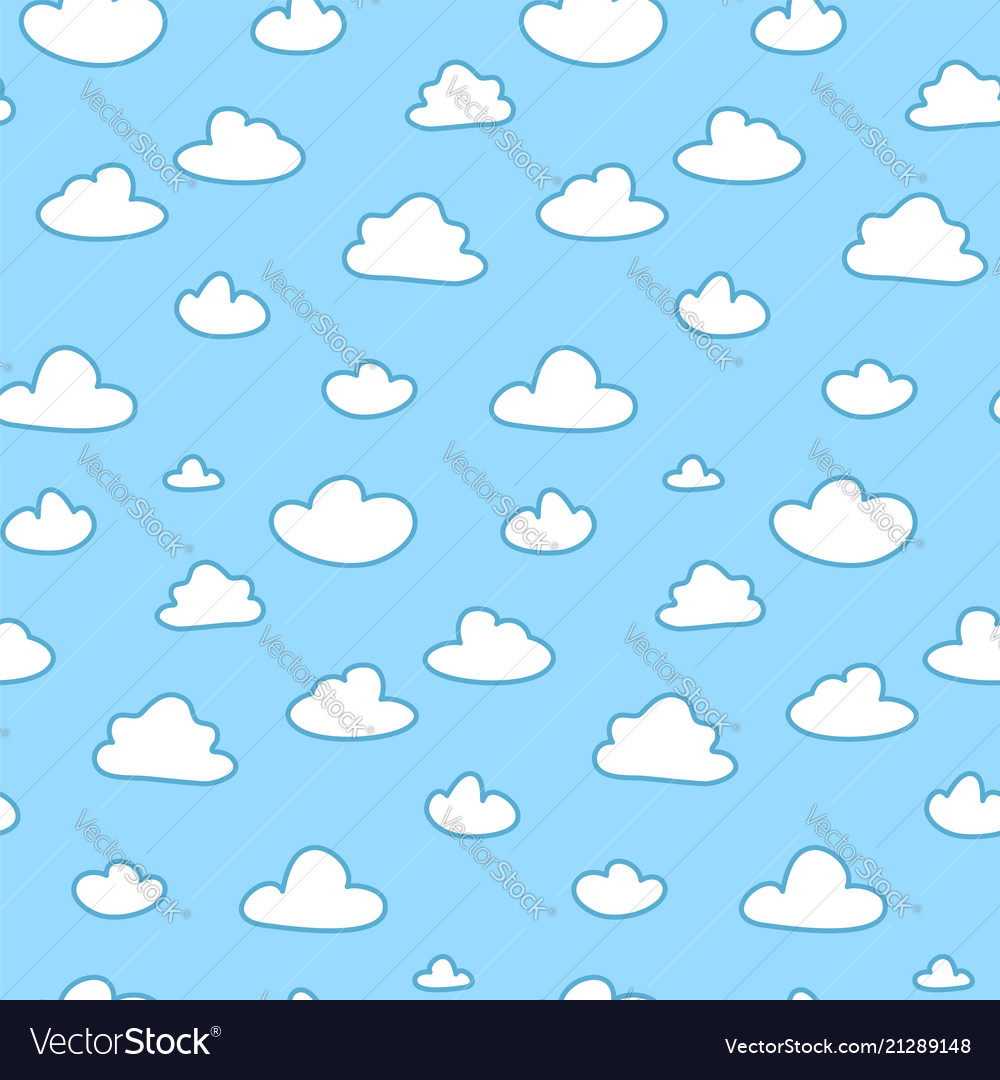 Cartoon clouds on blue sky seamless pattern