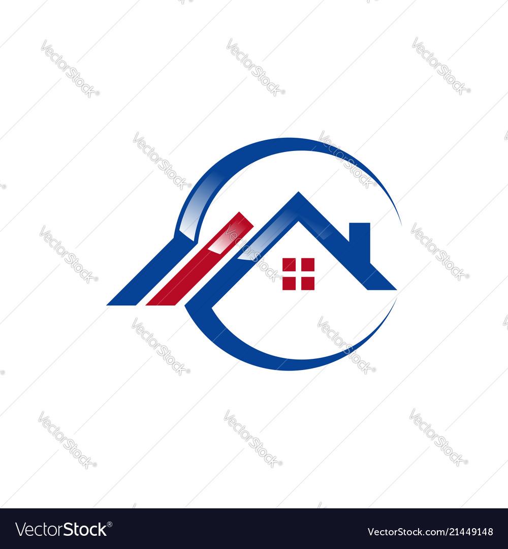 Circle home logo global house real estate logo