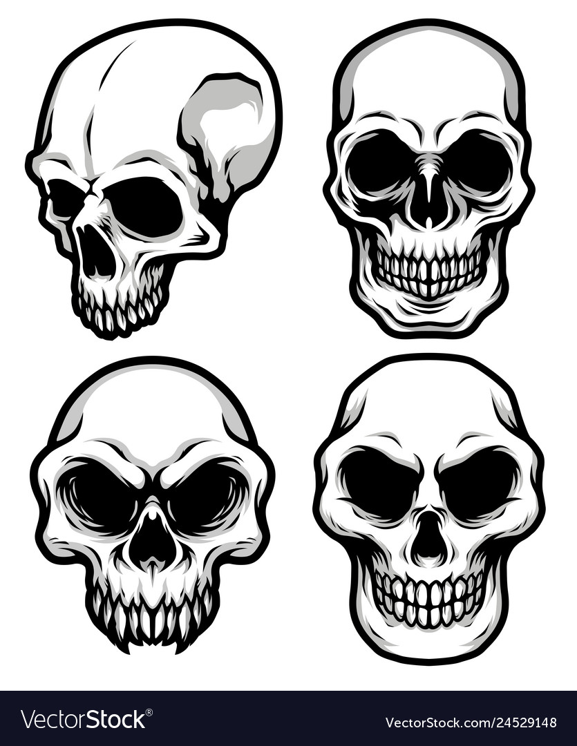 Detailed classic skull head black and white