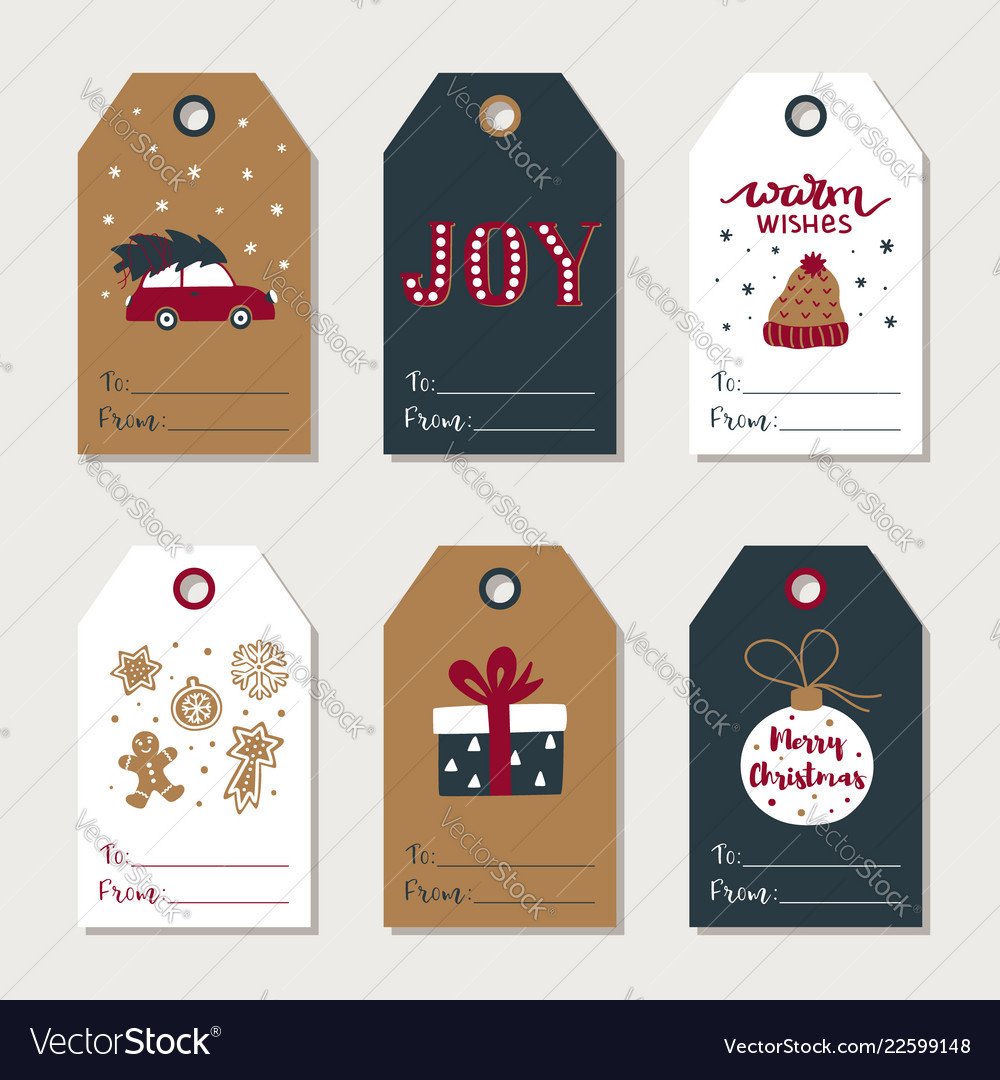 Hand drawn christmas gift tags collection cute