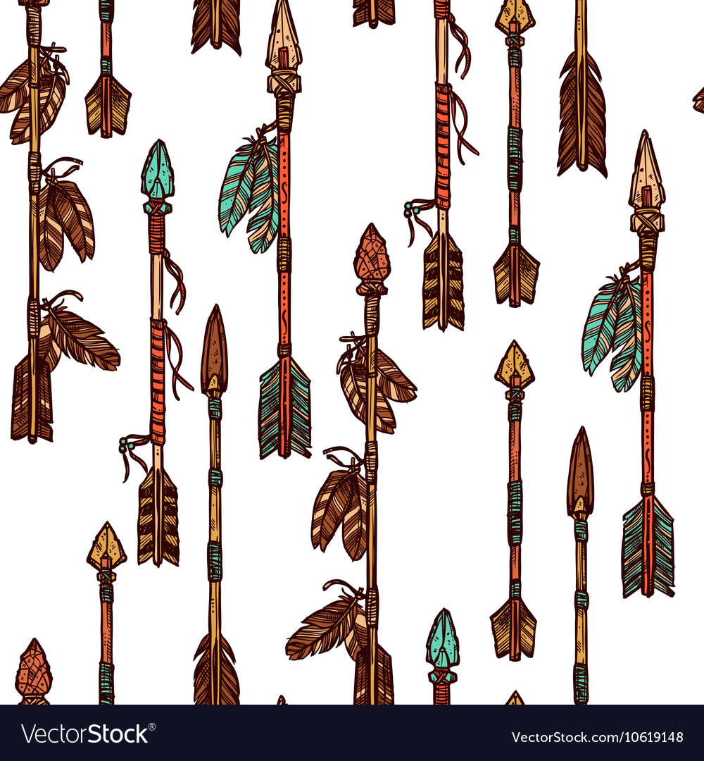 Hipster Hand Drawn Arrows Seamless Pattern