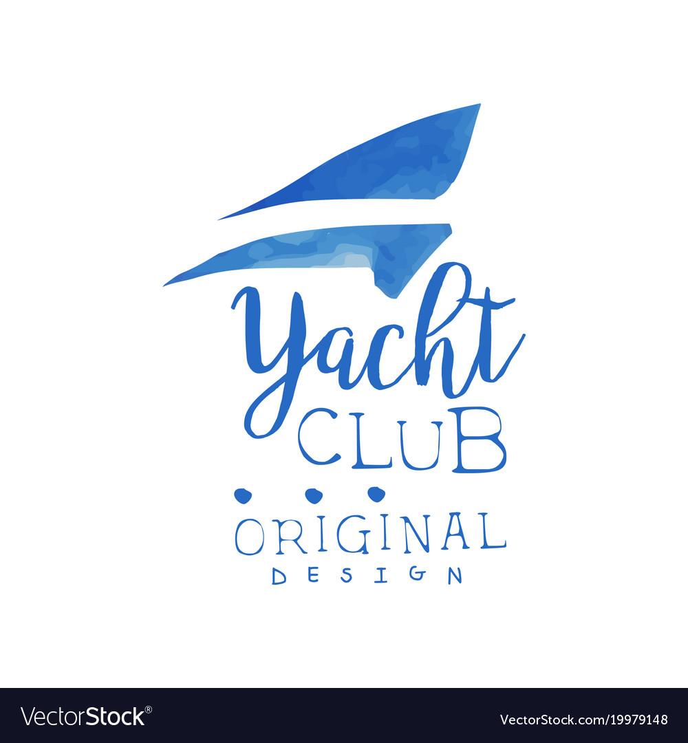 Original hand drawn logo template for yacht club