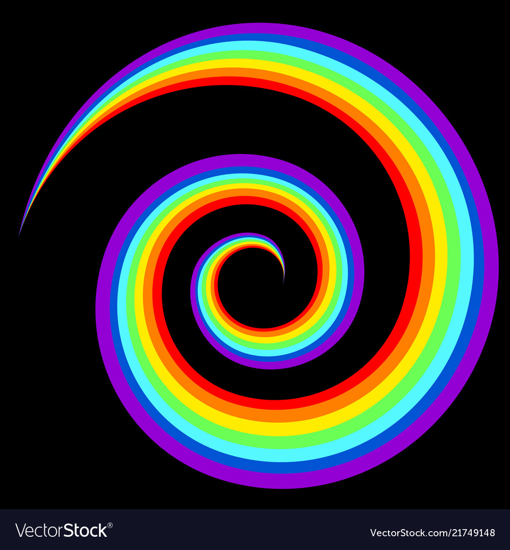 Rainbow swirl abstract figure in black background